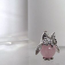 Charming Hand made Sterling Silver & Rose Quartz Barney Owl Charm Pendant